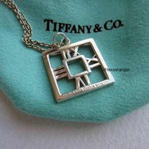 "Tiffany & Co. SS Square Atlas 18"" Necklace Pendant"
